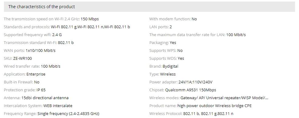 High speed wi-fi bridge CPE 150Mbps 2 4 G wifi 15Dbi